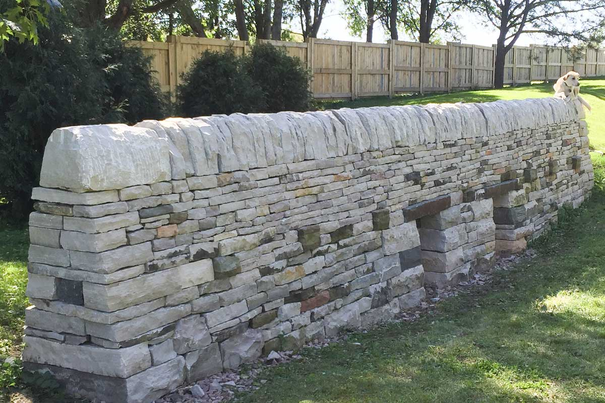 Straight drystone wall image