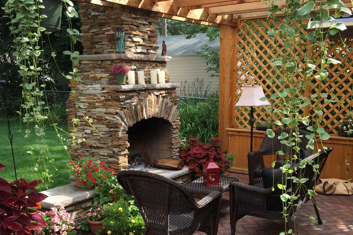 Outdoor fireplace and patio image