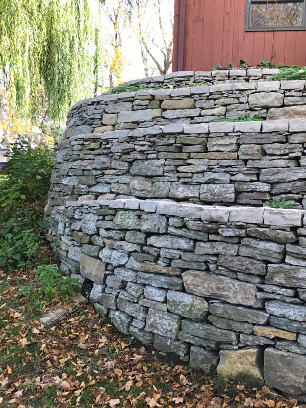 Residential Drystone Retaining Wall Close Up Image