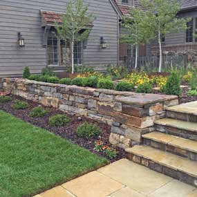Altman Court Stone Retaining Walls, Stone Steps and Patio