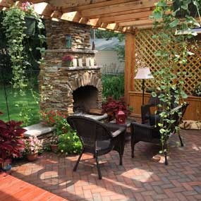 Highland Park Outdoor Fireplace and Patio