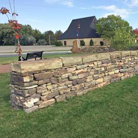 Lake Blvd Stone Wall at Park in Lindstrom